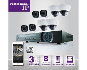 PROFESSIONAL GRADE VISTA  IP SYSTEM INCLUDES 8CH HD IP 3MP CAMERA  WITH DOME MOTORIZED RANGE 100ft', HD-NVR WITH 2TB HARD DRIVE WITH POE & 8 CABLES