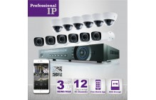 PROFESSIONAL GRADE VISTA  IP SYSTEM INCLUDES 16 HD IP 3MP CAMERA  WITH DOME MOTORIZED RANGE 100ft', HD-NVR WITH 4TB HARD DRIVE WITH POE & 12 CABLES