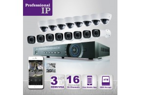 PROFESSIONAL GRADE VISTA  IP SYSTEM INCLUDES 16 HD IP 3MP CAMERA  WITH MOTORIZED LENS NIGHT VISION RANGE 100ft', HD-NVR WITH 4TB HARD DRIVE WITH POE & 16 CABLES
