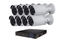 COMMERCIAL GRADE VISTA  IP SYSTEM INCLUDES 8 HD IP 3MP CAMERA  2.8MM LENS NIGHT VISION RANGE 120', HD-NVR WITH 3TB HARD DRIVE WITH POE & 08 CABLES